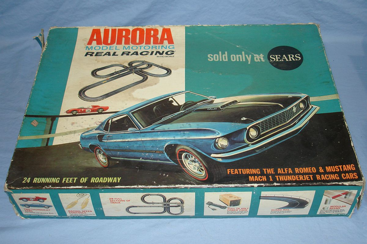 Aurora TJET HO Scale Slot Car Thunder Jet 500 Racing Sears Real Racing Track Set #1980 Box