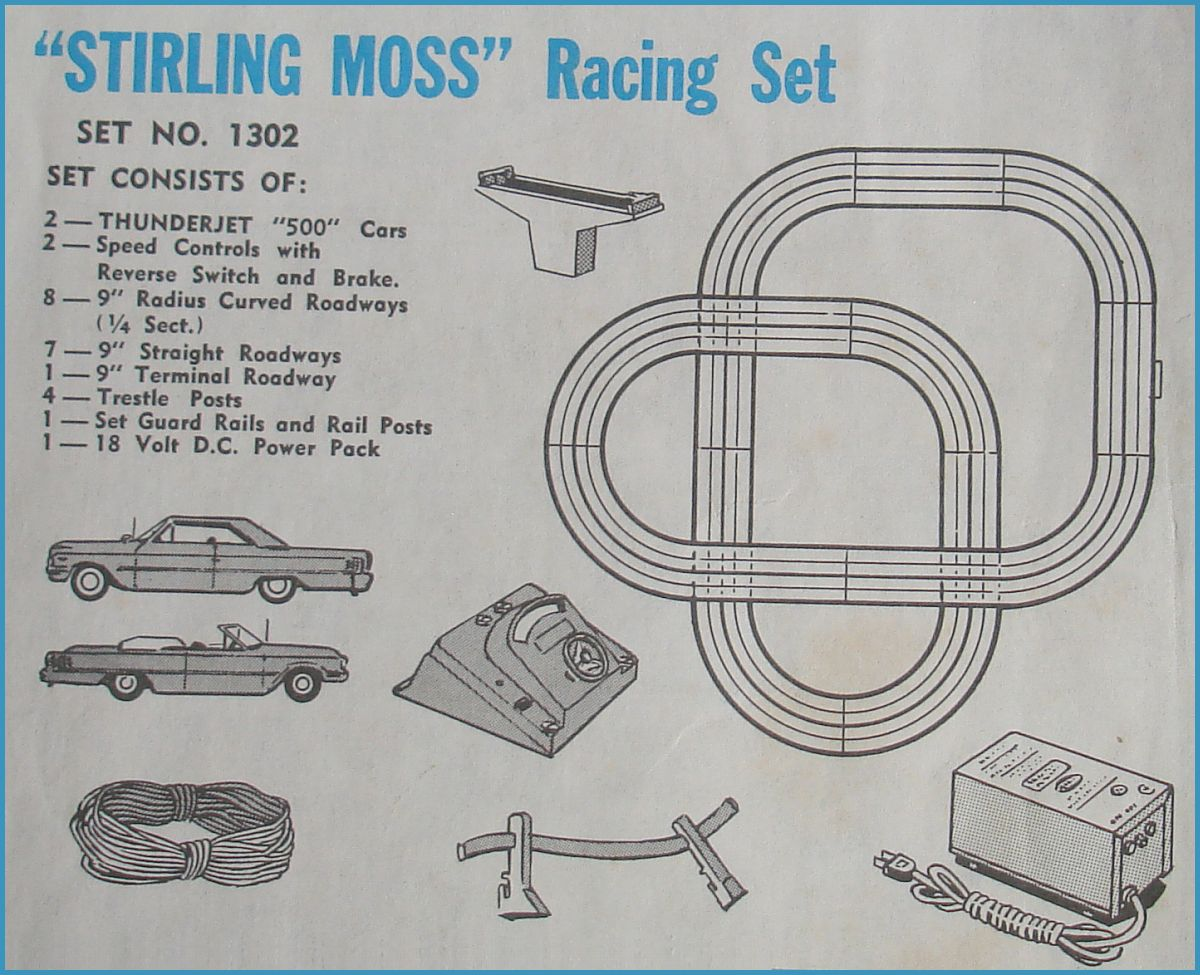 Aurora ThunderJet 500 MotorHO Scale 2 Lane Slot Car Racing Track Set #1302 Schematic