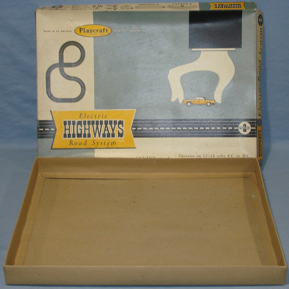 Playcraft Highways HO Scale Electric Road System Slot Car Racing Track Set #2 Box Lid & Bottom