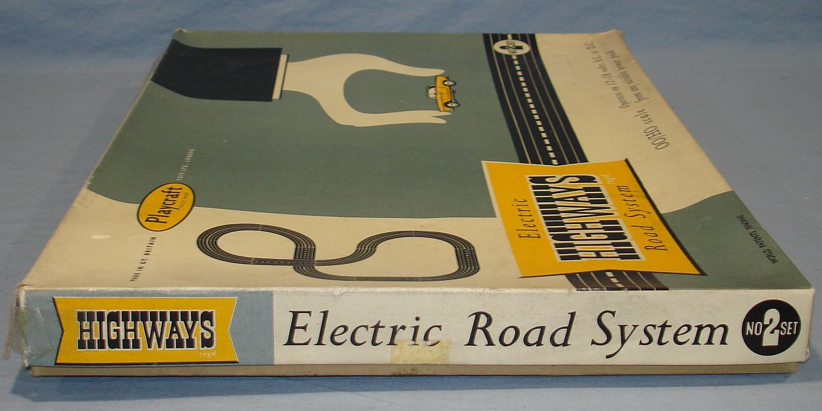 Playcraft Highways HO Scale Electric Road System Slot Car Racing Track Set #2 Box Lid Left Panel