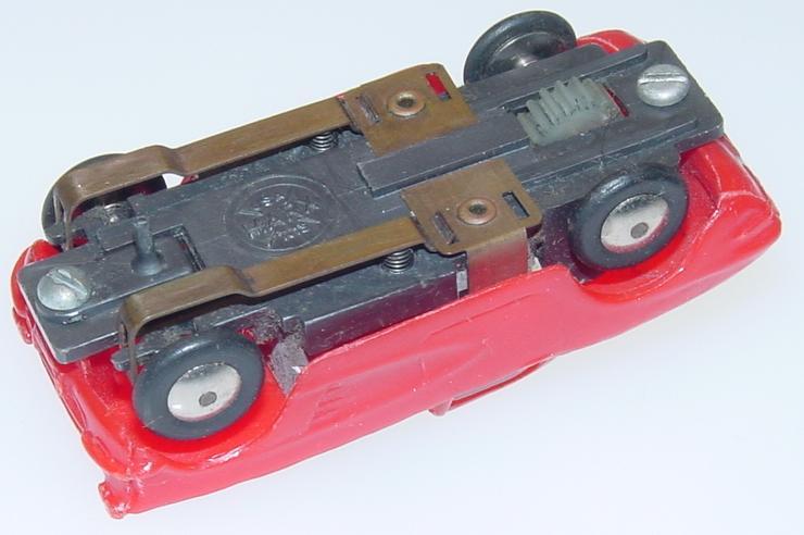 Marx HO Scale Red Chevrolet Corvette Slot Car Runner Chassis