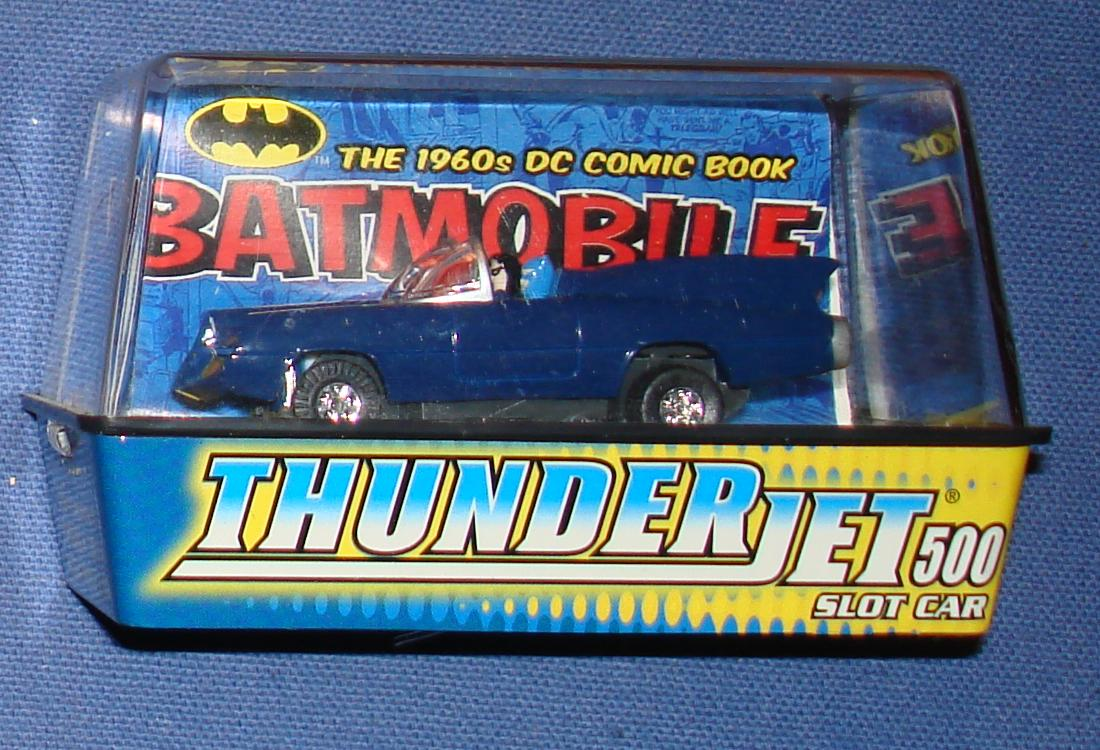 Johnny Lightning Thunderjet 500 DC Comic Book Blue Batmobile SlotCar