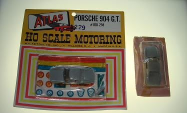 ATLAS HO MIDGET SLOT CARS 1101 GREY PORSCHE 904 GT CARDED CAR + BONUS BODY NMOC