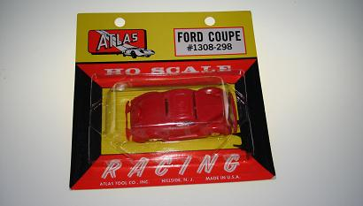 ATLAS HO SCALE MOTORING SLOT CARS RED 1936 FORD COUPE CARDED CAR #1308 NMOC