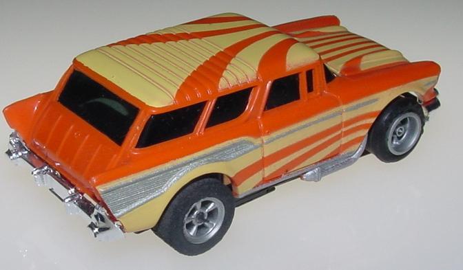 Aurora AFX 1957 Chevrolet Chevy Nomad Orange Yellow Sunburst MOC HO Slot Car Trunk