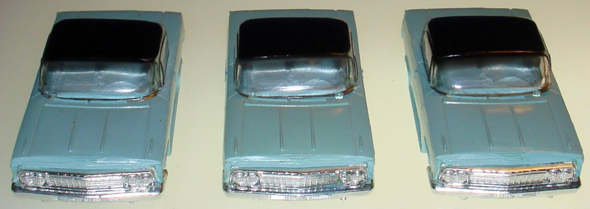 ATLAS HO SLOT CAR RACING BODIES POWDER BLUE CHEVROLET IMPALA HARD TOPS