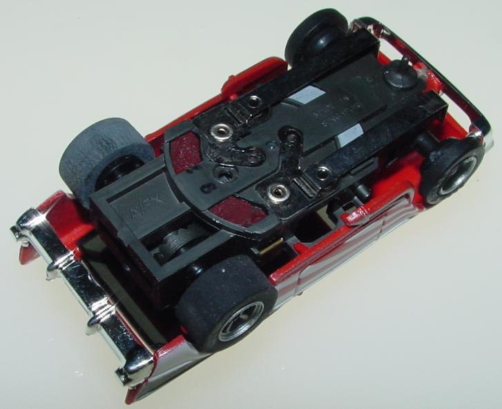 AFX 1957 Chevy Nomad Slot Car Starburst Red White Chassis