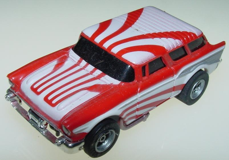 AFX 1957 Chevy Nomad Slot Car Starburst Red White Hood