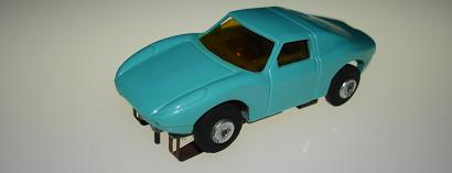 Atlas HO Slot Car Turquoise Porsche 904 Yellow Tinted Windows