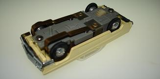 Atlas HO Slot Car Yellow Chevrolet Impala Chassis