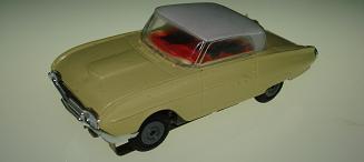 Atlas HO Slot Car Yellow Ford Thunderbird