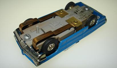 Atlas HO Slot Car Blue Pontiac Grand Prix Chassis