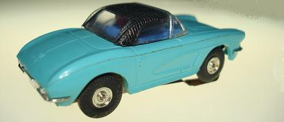 Atlas HO Slot Car Turquoise Chevrolet Corvette