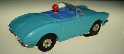 Atlas HO Slot Car Turquoise Chevrolet Corvette Convertible