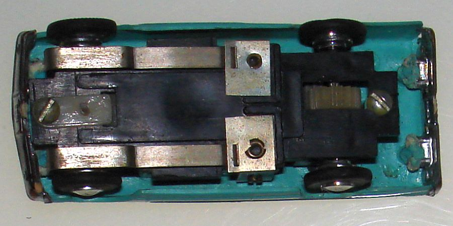 Atlas Ledy Mexican Turquise Ford Galaxie Convertible HO Slot Car Chassis Posts