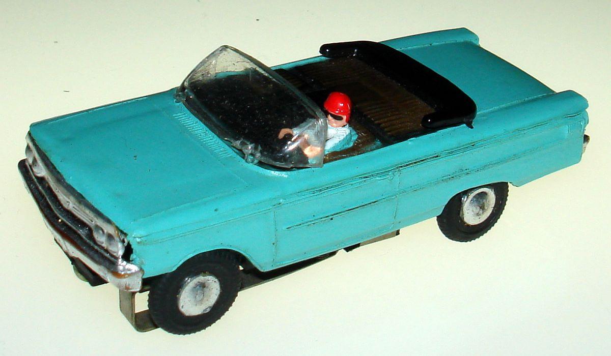 Atlas Ledy Mexican Turquise Ford Galaxie Convertible HO Slot Car Hood