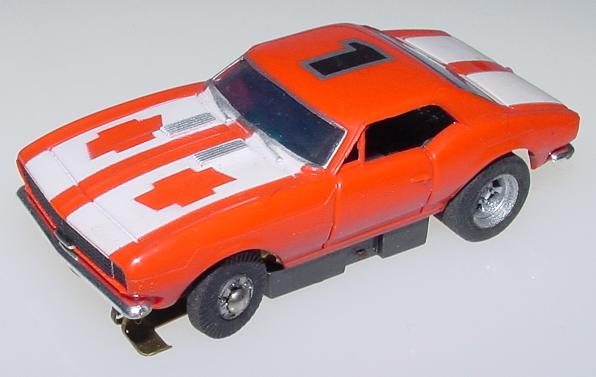 Aurora Xlerators Slotless Chevrolet Camaro Orange #1 Slot Car
