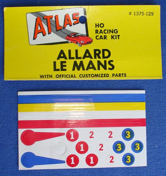 Atlas HO Slot Car Kit Allard Lemans Racing Stickers