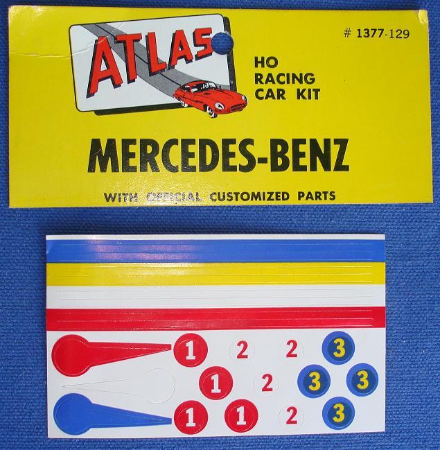 Atlas HO Slot Car Kit Mercedes Benz Racing Stickers