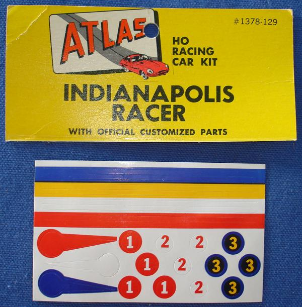 Atlas HO Slot Car Kit Indianapolis 500 Racing Stickers