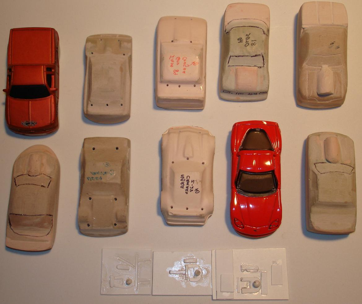 HO SCALE SLOT CAR ASSORTMENT 10 HAND MADE BODY MOLDS