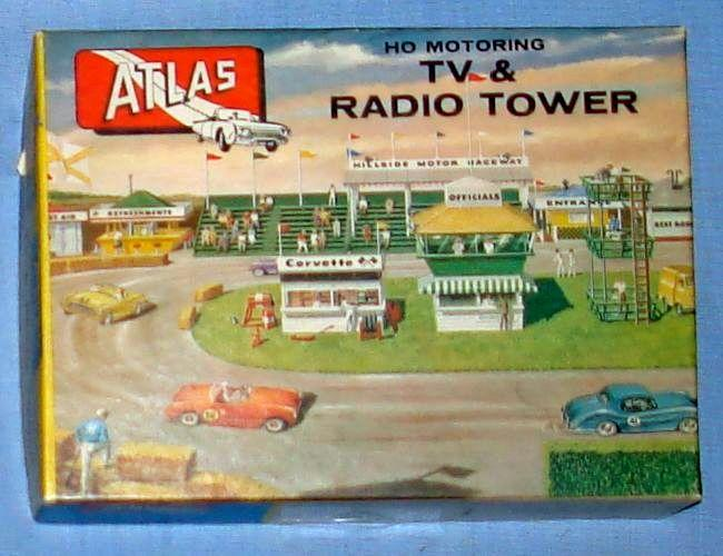 Atlas HO Slot Car Racing Layout Structure Kit 1410 TV & Radio Tower Empty Box