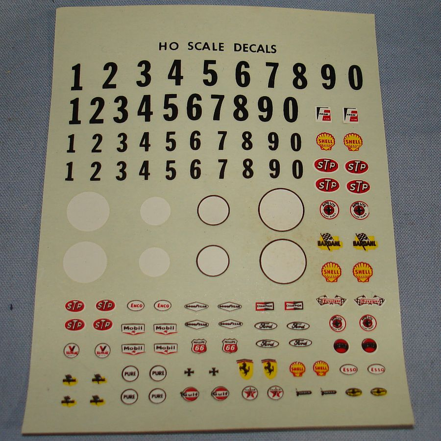 HO Scale Slot Car Racing Water Slide Decal Sheet Kit #1461-130