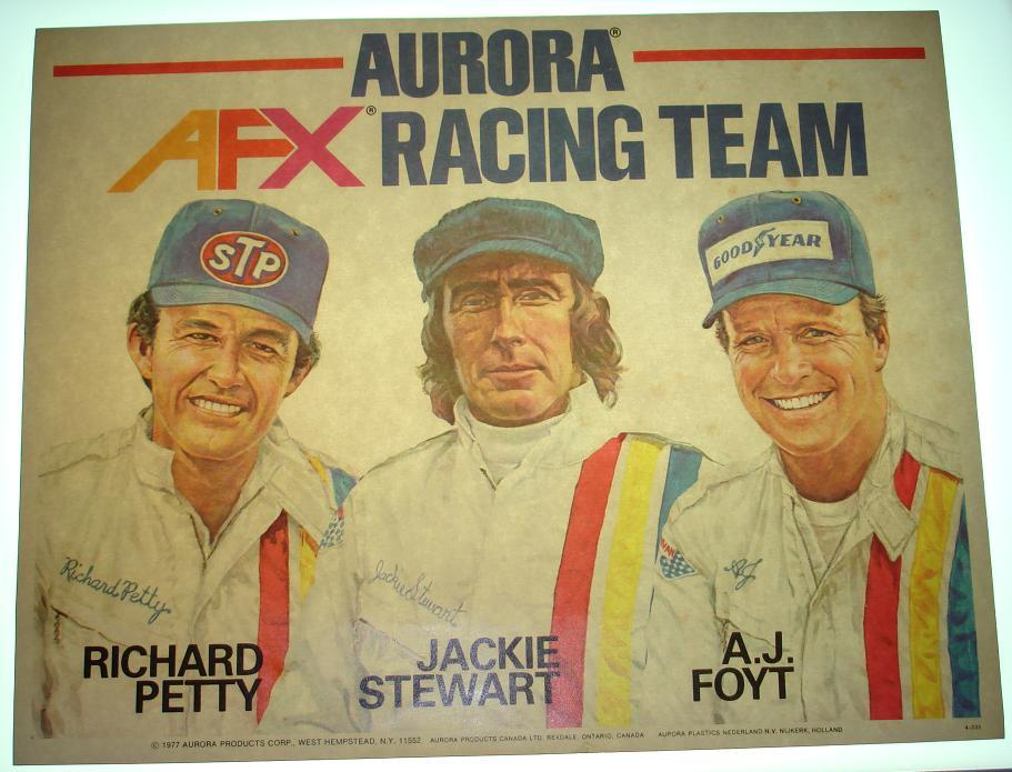 AFX Racing Team Slot Car Racing Poster Richard Petty Jackie Stewart AJ Foyt