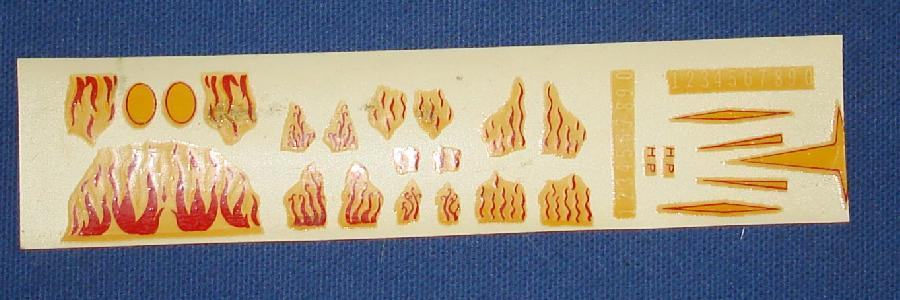 Tyco Speedways HO Scale Chrome Plated Hot Rod Slot Car Decal Sheet