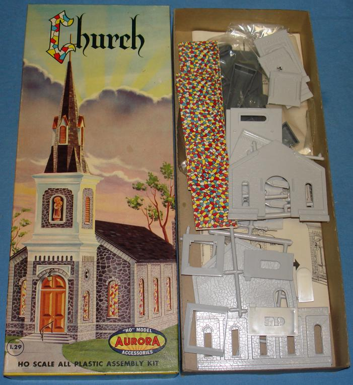 Aurora HO Scale Slot Car Scenery Church Model Kit #655