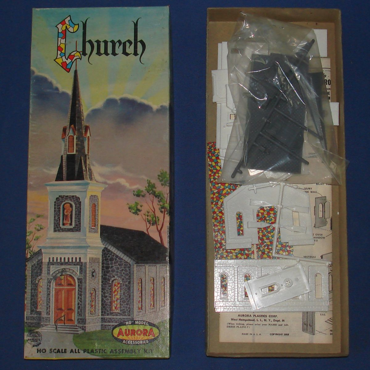 AURORA HO SCALE SLOT CAR TRAIN LAYOUT SCENERY CHURCH MODEL HOBBY KIT #655
