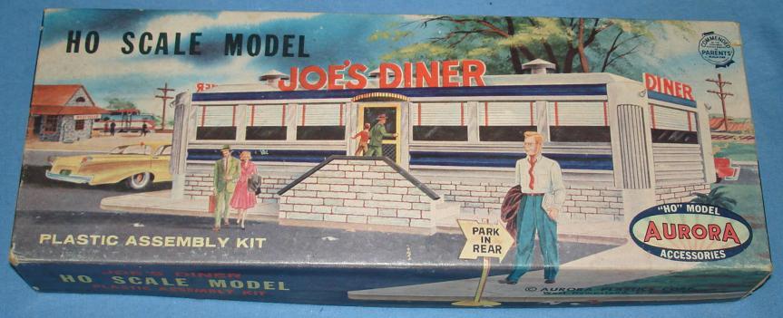 Aurora HO Scale Slot Car Scenery Joes Diner Model Kit Box #657
