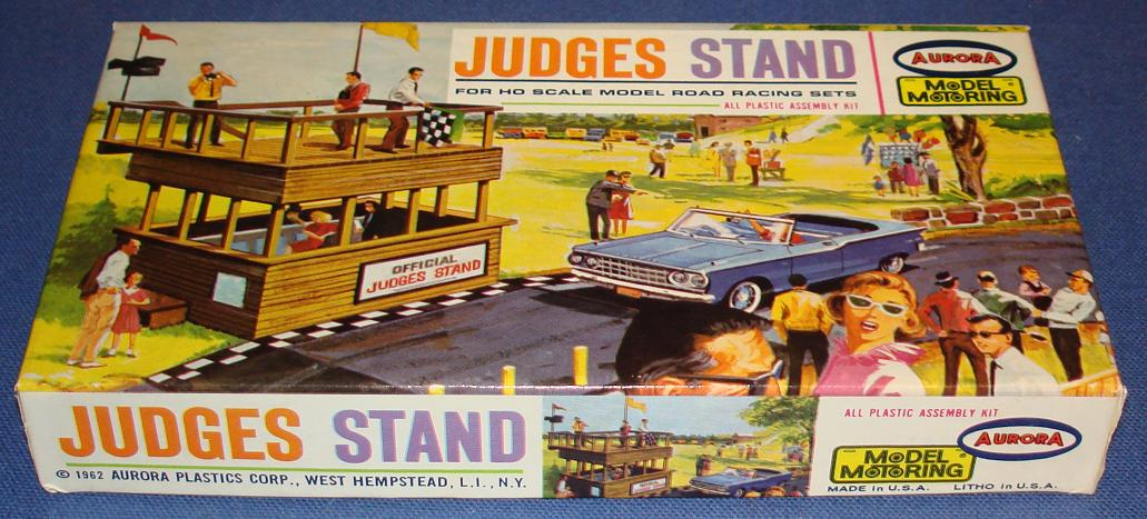 Aurora Motoring Thunderjet 500 TJET Slot Car Road Racing 1:87 Scale Scenery Judges Stand Building Kit Box