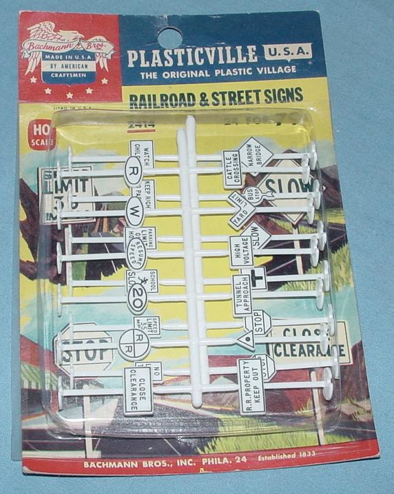 Plasticville HO Gauge Railroad Slot Car Racing Road Street Signs