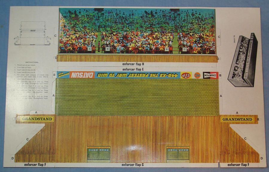 Vintage Tyco Magnum 440 Slot Car Racing Track Cardboard Grandstand Punch Out