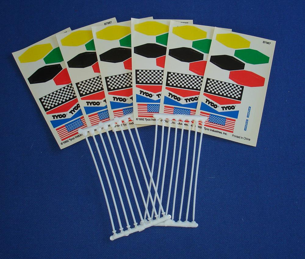 Tyco HO Slot Car Road Racing Track Flag Poles & Stickers