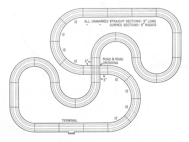 Atlas 1215 Snake Run Crossing SlotCar Track Diagram
