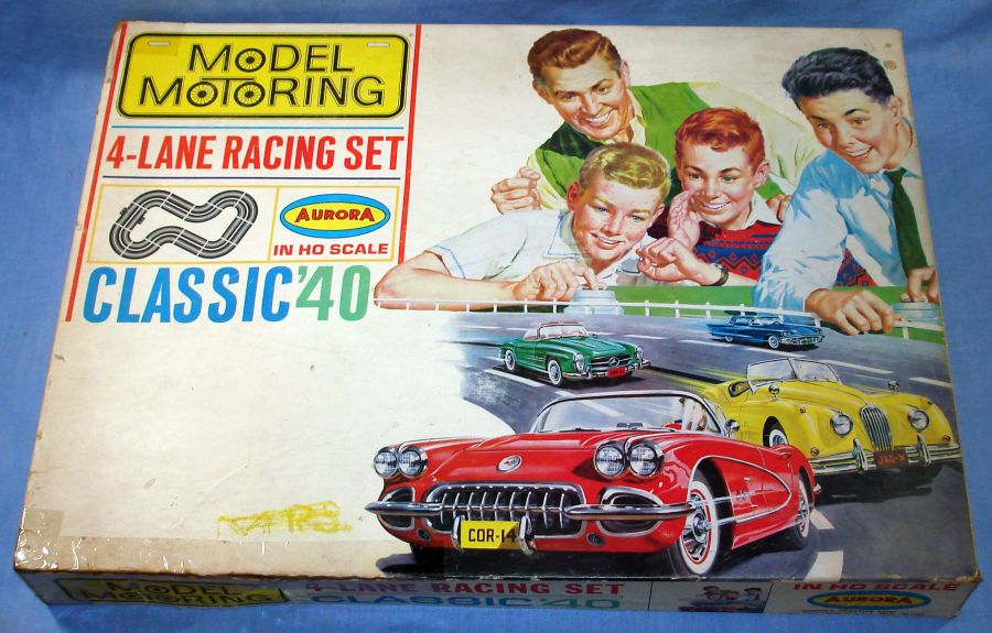 Vintage Aurora Model Motoring Vibrator Classic 40 Slot Car Racing Set Box Lid
