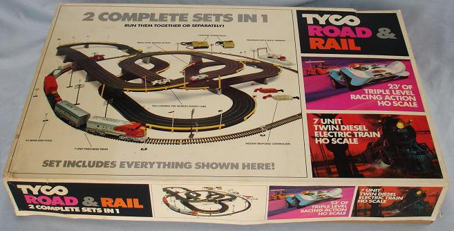 Tyco Tycopro Road & Rail HO Slot Car Racing Electric Train Set #9000 Box Lid