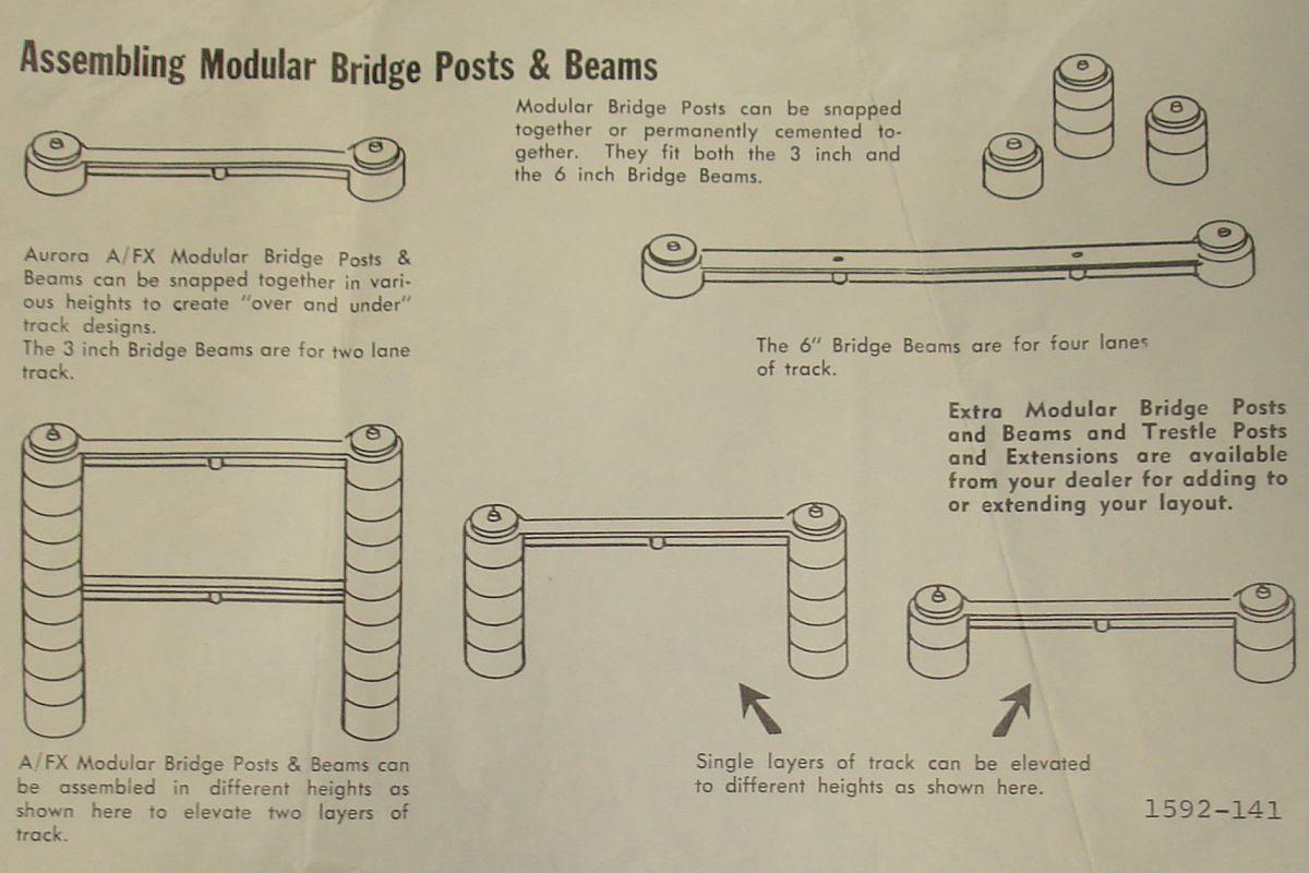 Aurora AFX Model Motoring Slot Car Racing Track Modular Bridge Beams & Posts #1592-141 Instructions