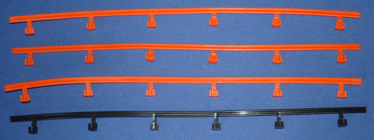 AFX HO 1:87 Scale Slot Car Racing Guardrails Three Orange & One Black