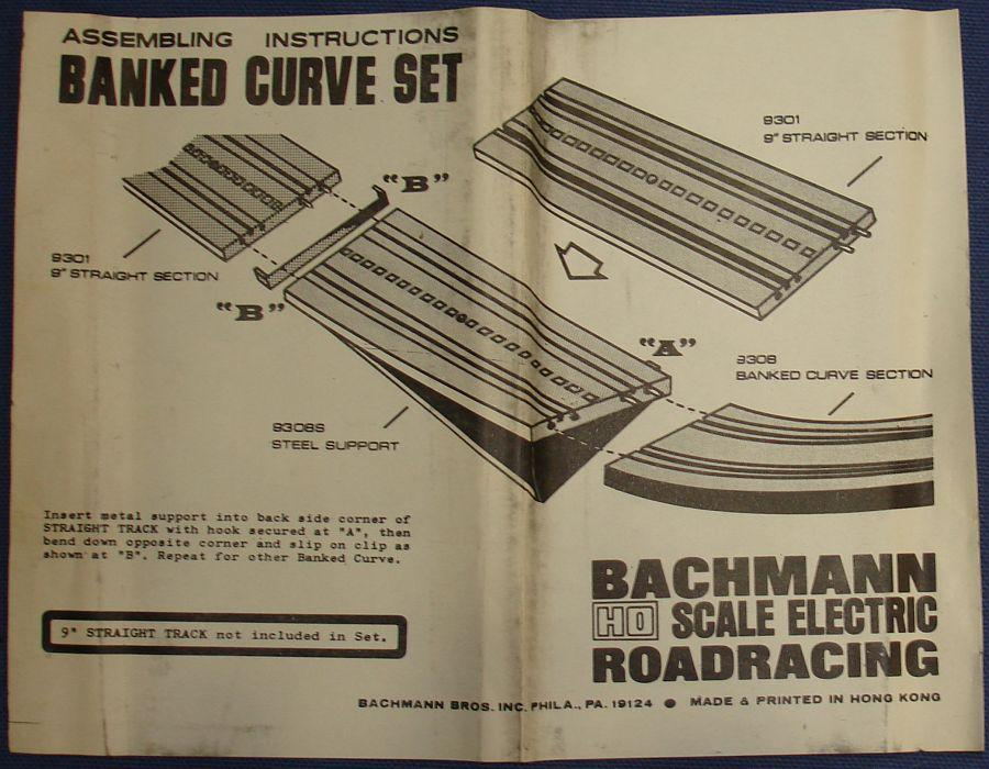 Vintage Bachmann Slot Car Racing Banked Curve Track Set #9308 Instructions