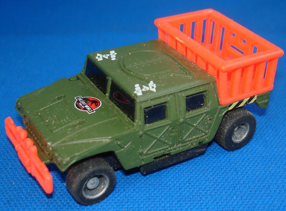 Tyco HO Scale Jurassic Park Dinosaur Hummer Slot Car Truck Runner Hood