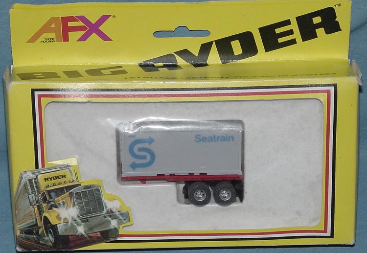 AFX Big Ryder Slot Car Truck MIB Pup Trailer Seatrain Grey Container Box