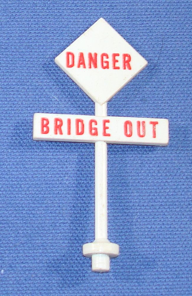 AC Gilbert James Bond 007 Slot Car Road Race Set Danger Bridge Out Sign