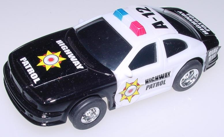 1:43 Scale Black & White Police Slot Car