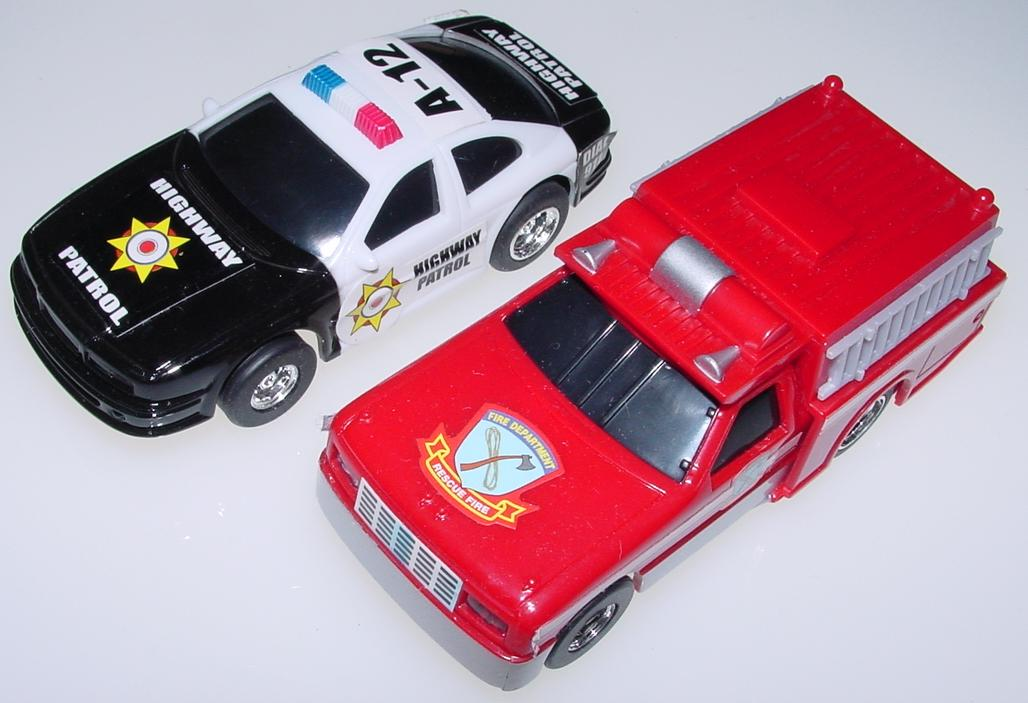 1:43 Scale Black & White Police Car & Red Fire Engine Slot Cars Hoods