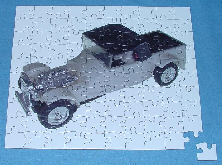 White 1:48 O Gauge Slot Car Jigsaw Puzzle Stock Number 1951 Assembled