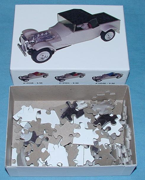 White 1:48 O Gauge Slot Car Jigsaw Puzzle Stock Number 1951 Contents