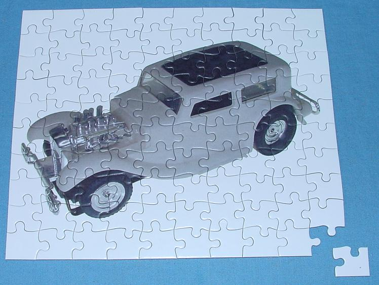 White 1:48 O Gauge Slot Car Jigsaw Puzzle Stock Number 1952 Assembled